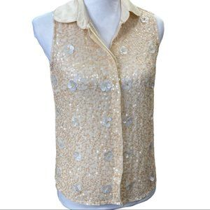 Willow & Clay Floral Sequin Sleeveless Top Size XS